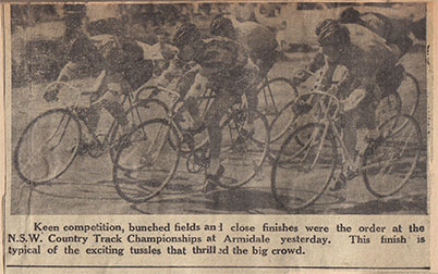 The race track at the Armidale racecourse in 1961. This image is from Jock Bullen's cycling scrapbook. Jock won the Country Cycling Championships on the Armidale track that year. There was a hard surface and the track fell into disuse shortly afterwards. Track racing had been noted on the racecourse track as early as the 1930's.