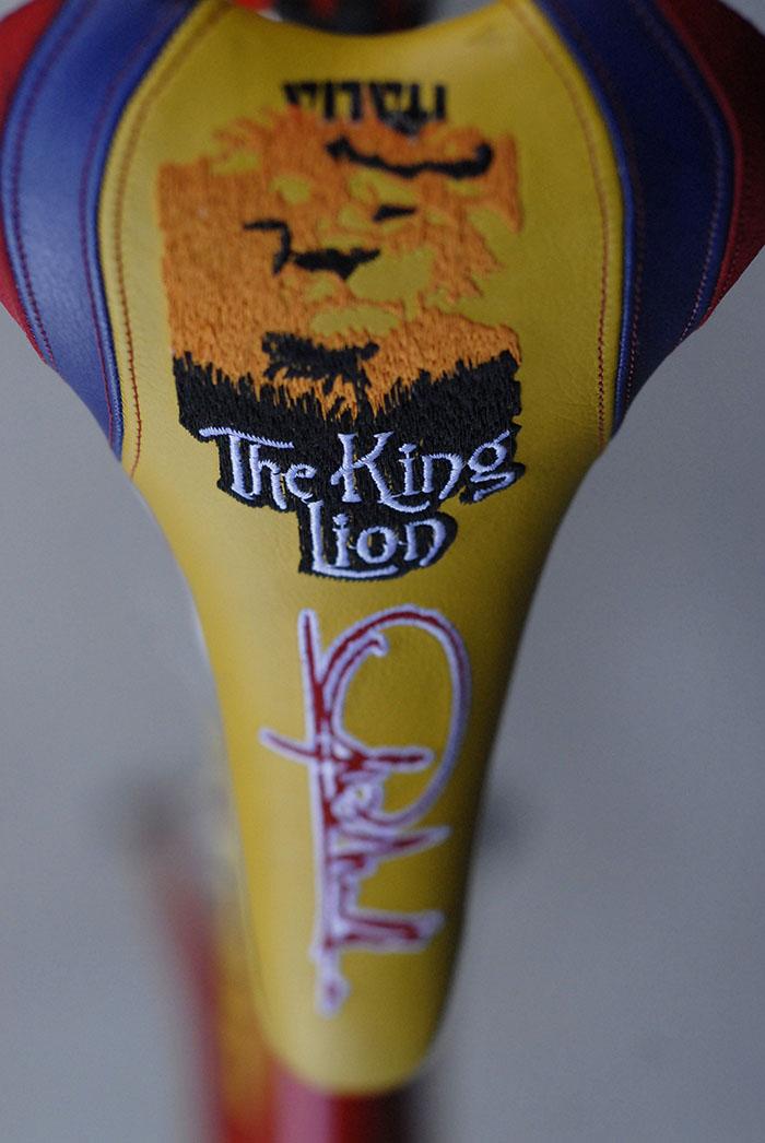 """Selle Italia Saddle Century 100 signature Mario Cipollini """"The King Lion""""."""