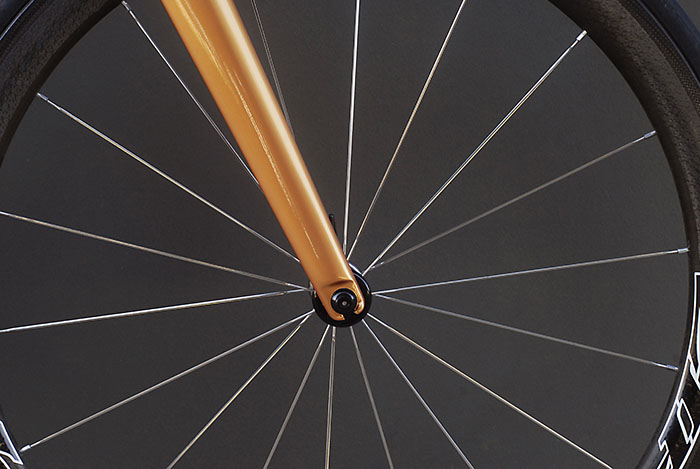 Burnt orange paint on Damien's Legend Bicycle, you can't miss this bike out on the road.