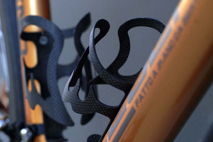 Those special highly sought after, custom Legend, Bertoletti carbon cycling water bottle / bidon cages.