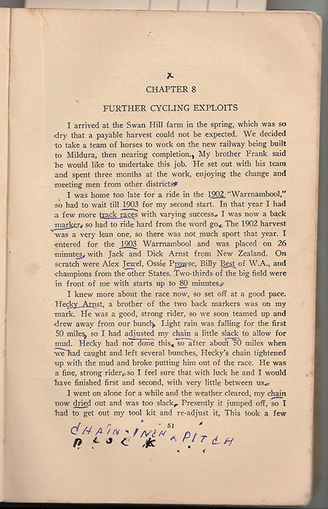 Arthur Dows made his own special mark on Ernie Old's book.