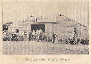 Ernie Old's blacksmiths shop at Dingee, if he wasn't working here he was out riding a bicycle.