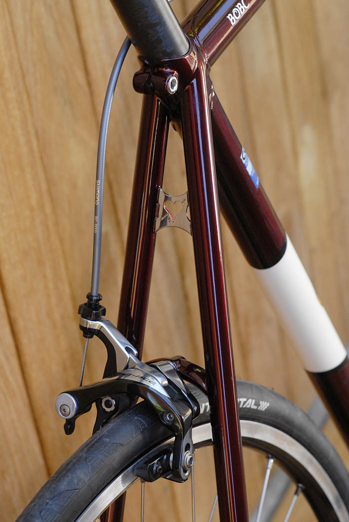 Llewellyn bikes seat stays in brandywine, a rich lustrous red by Joe Cosgrove of Cycle Design
