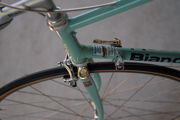 Hours of polishing went into the preparation of this Bianchi X4 fork crown for chrome plating.