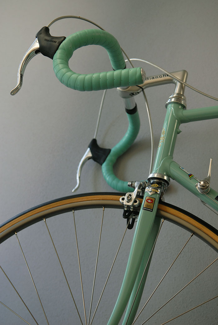 Columbus SL fork blades with Bianchi investment cast fork crown.