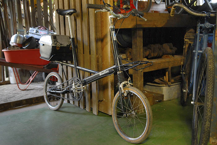 One of many Moulton bicycles collected by James Macdonald.