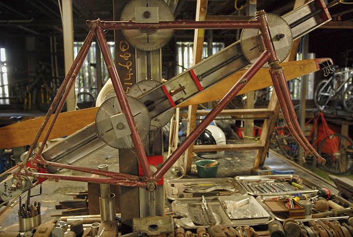 The bike workshop under James Macdonald's house.
