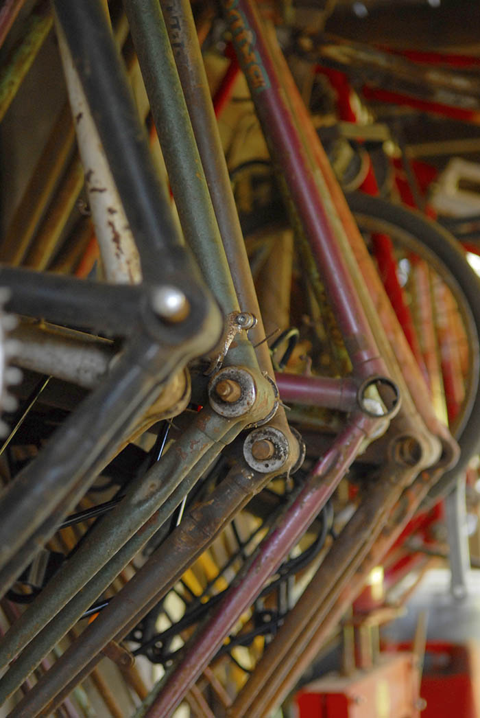 More vintage bike frames racked and ready to be built up.