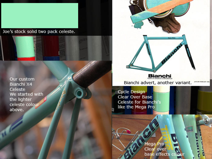 Bianchi Celeste Variations from custom colours to RAL 6027 for a stock colour reference, through to clear over base colours on the Mega Pro.