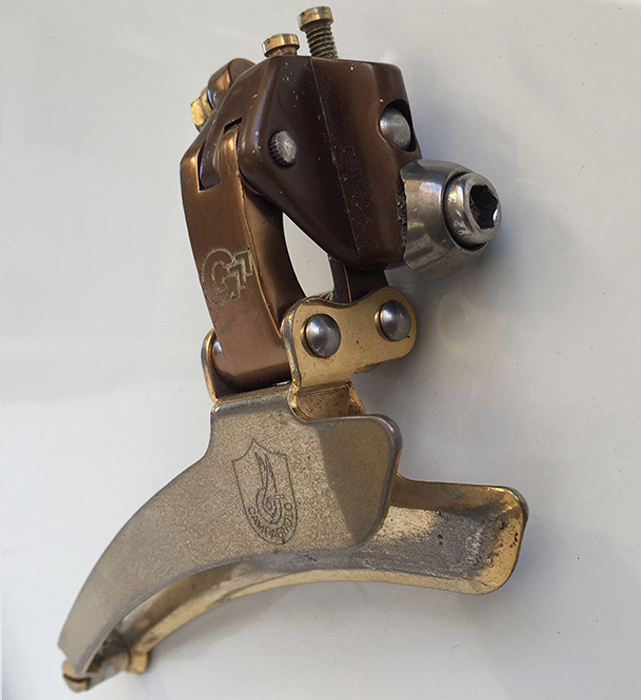 Front view of the Gerber Swiss bike shop, branded and plated C Record front derailleur