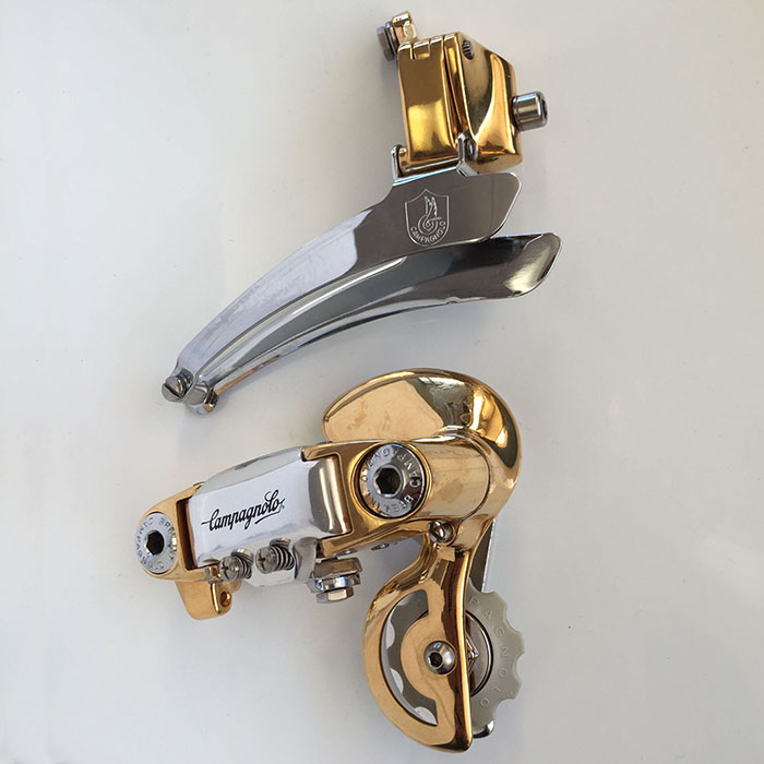 Ital Cicli Systems Zurich, Campagnolo gen 2 gold plated front derailleur with an ICS modified fixing bolt. Matching gen 2 rear derailleur.