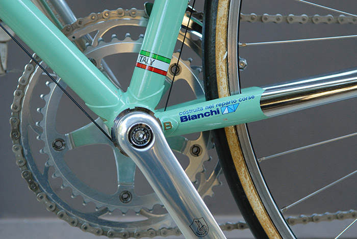 Bianchi reparto corse, the famed decal from the Bianchi race department.