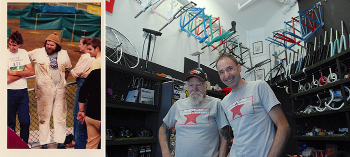 """With Geoff Scott, Gefsco - Clamont custom frame builder in his trademark white overalls in 1984 . Thirty years later and we've finally caught up to collaborate on this story and more. Photo on the right, by Daniel """"Gypsy"""" Licastro"""