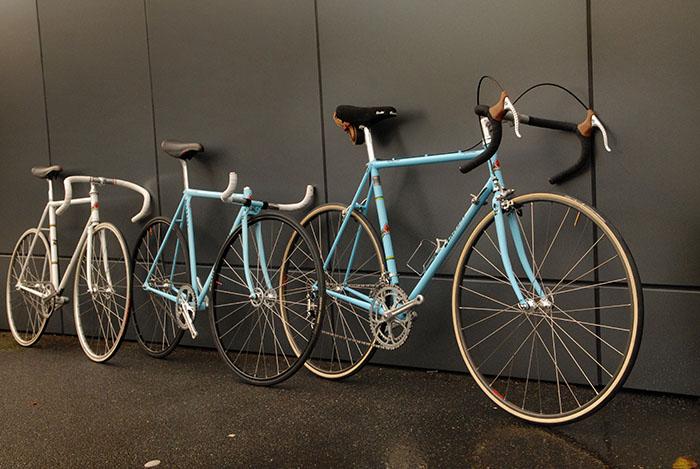 Three of Geoff Scott's favourite bikes lined up.