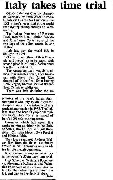 1993 'Italy takes time trial.', The Canberra Times (ACT : 1926 - 1995), 27 August, p. 25, viewed 28 July, 2015, http://nla.gov.au/nla.news-article127228949