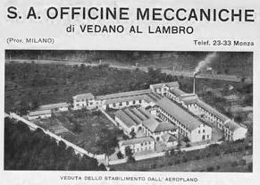 In 1947 S.A. Officine Meccaniche di Vedano Al Lambro occupied extensive premises at Vedano Al Lambro near Monza. The Lambro is the historic river running through the locality.
