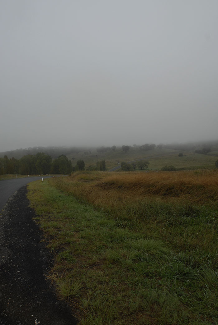 Armidale roads look like this a lot, misty, rain and wind. Be prepared for bad weather when you go cycling around Armidale even if it looks sunny.