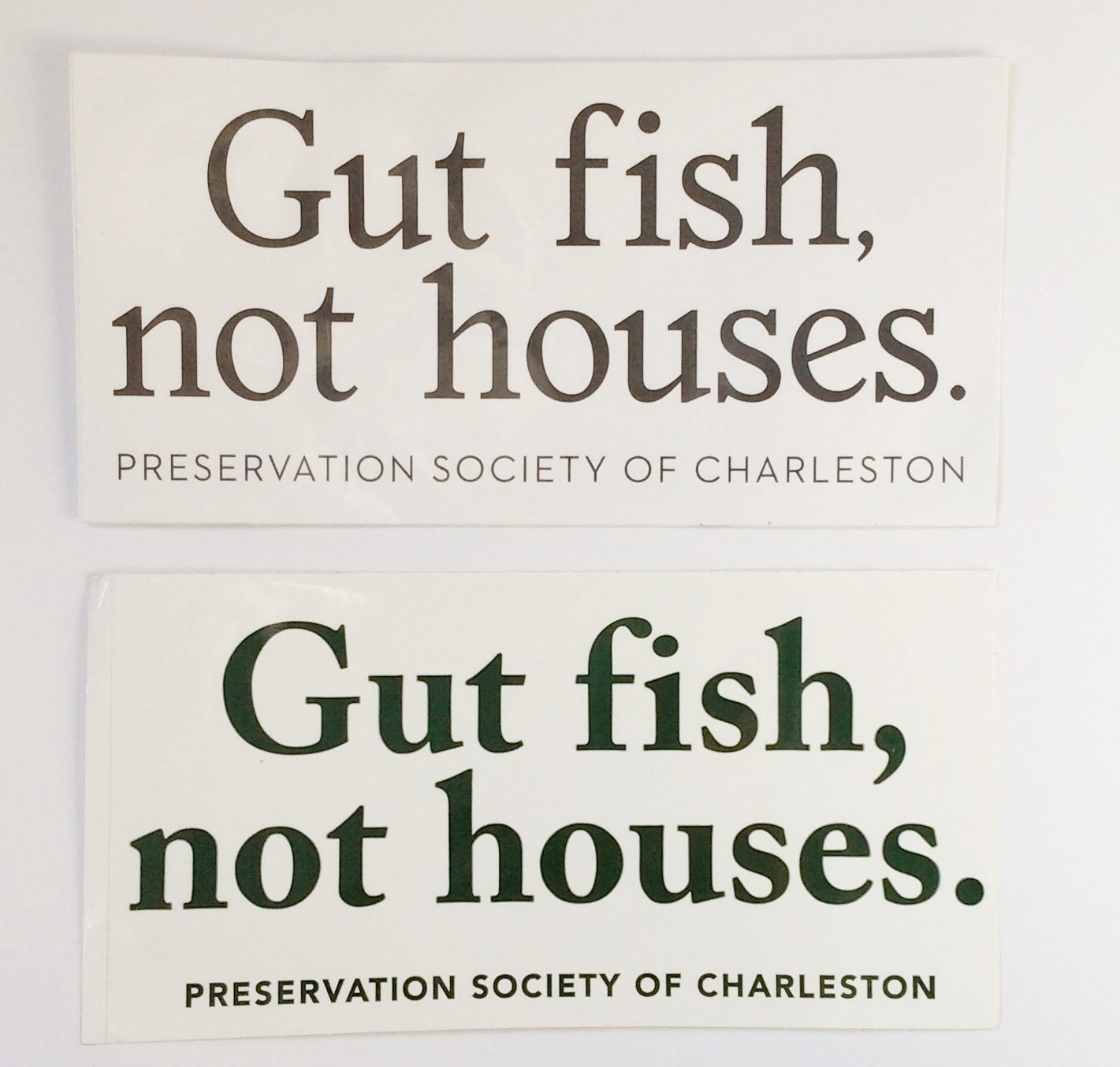 "Re-design of Iconic ""Gut fish, not houses"" sticker."