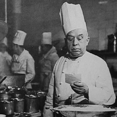Auguste Escoffier, culinary superstar who wrote the original introduction to  Larousse Gastronomique  at Montagne's request.
