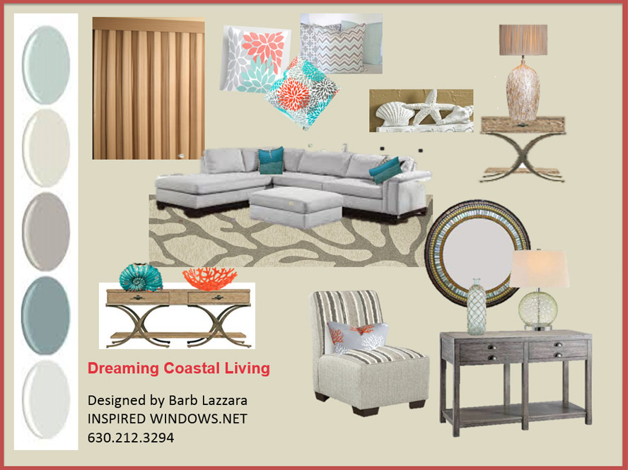 """Dreaming Coastal Living - Can you hear the waves? This coastal living room """"inspired"""" by the colors of driftwood that you would find along the sea shore. The calming natural woven drapery in sand tones. The wooden coffee and lamp tables are stained in a weather pier finish. The beautiful green glass lamp sits on top of a console table with tones of weathered grey. The round wall mirror in sea shell tones of green, blue, gold and silver pull this area together. Picking the shades of sea blue and coral used in the pillows and accent pieces bring in a pop of color and interest. Cozy up the sofa with 2 slipper chairs. The ottoman can be used for additional seating. We anchor this room witha natural painted sisal rug with the feel of sea weed floating to the surface. The paint colors remind me of the ocean and sandy beaches. Kick the sand off your feet and relax."""