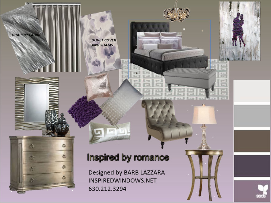 Inspired by Romance - Walk into this modern glam master suite. The inspiration for this master suite tells the story through the picture of a couple embracing each other. The colors of golden bronze, pewter and silvers, and shades of lavenderand cream create peaceful romantic atmosphere. The elegance of the European Pleated Drapery using Silver Sateen creating privacy with a sophisticated ambiance to this room. The duvet cover picks up the colors that we use throughout the room. The four drawer chest paired with matching dresser gives plenty of room for your things. The modern tubular silver chandelier over the bed reflects themood of the room. A Greek Key pattern rug pulls the room together and will soften the hard surfaces. Enjoy a good book relaxing of the tufted rolled back armless slipper chair. Illuminate your side tables with mercury glass lamps with bell shaped lamp shade. Add a bench at the foot of the bed,then add some pillows. The accessories in a liquid black porcelain urns top the chest, along with the wave pattern mirror. This sets the tone for a get away every night.