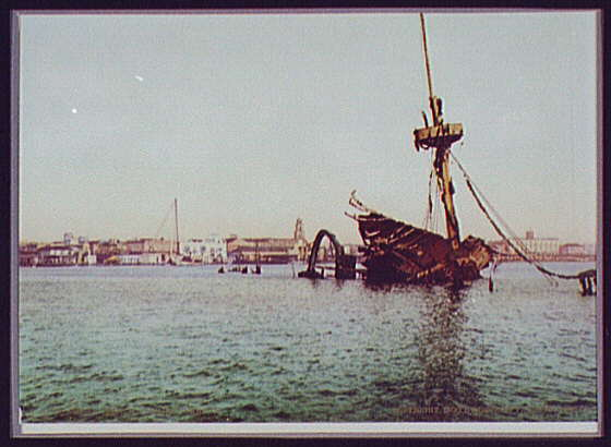 USS MAINE - Sunk accidentally, but popularly credited to the Spanish by newspaper men like William Randolph Hearst.