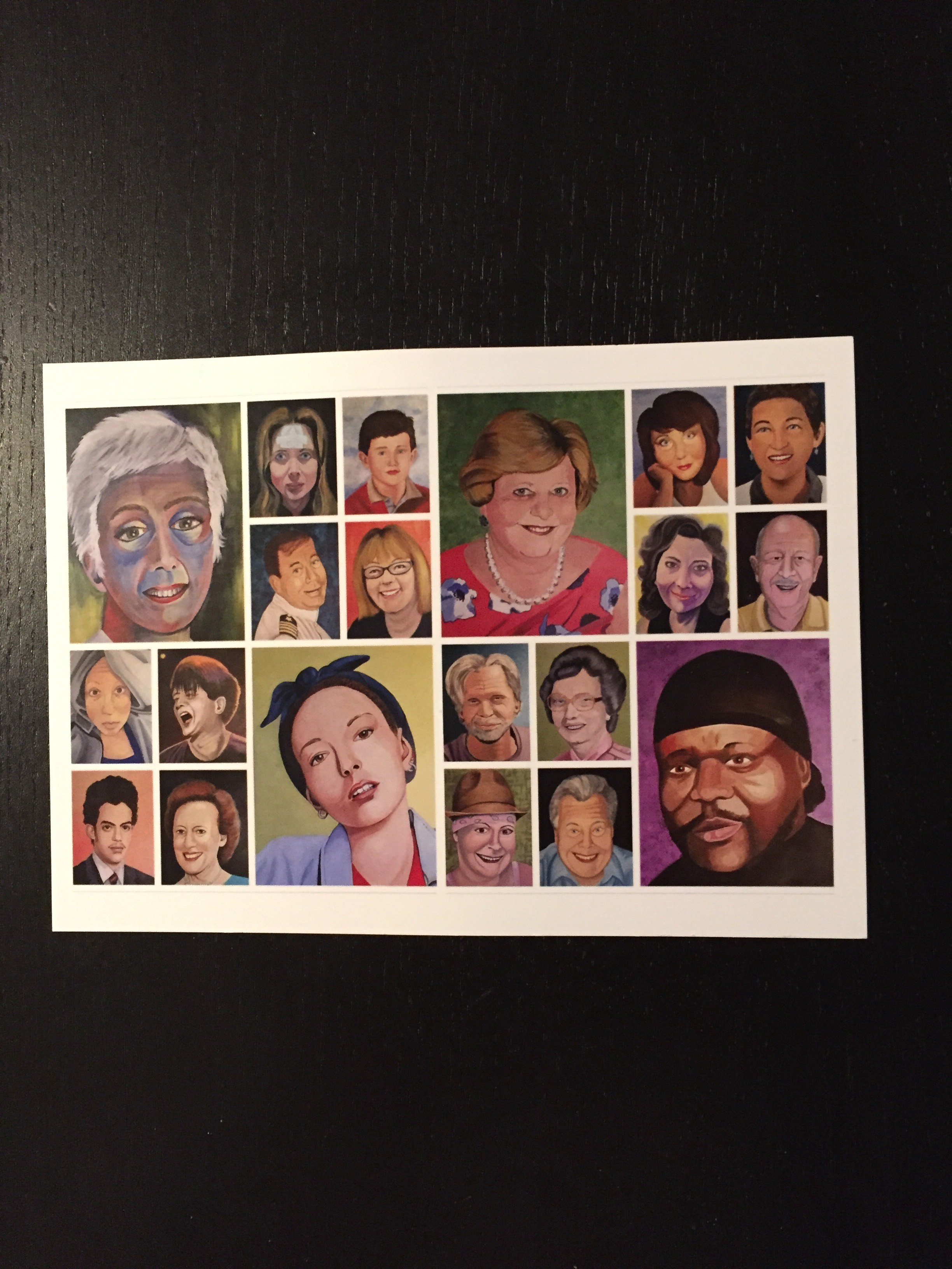 "Postcard of ""Faces of Cancer"" Exhibit by Lisa Semple"