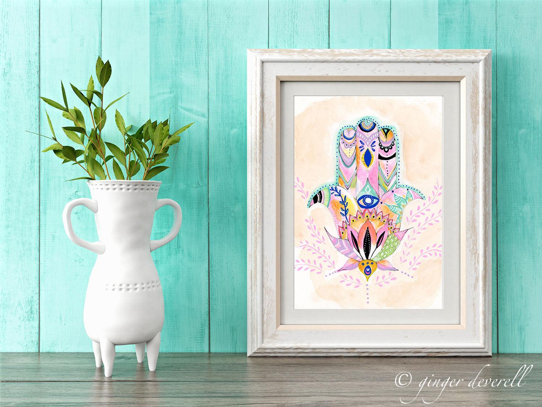 PinkHamsa-Framed-Turquoise-GingerDeverell.jpg