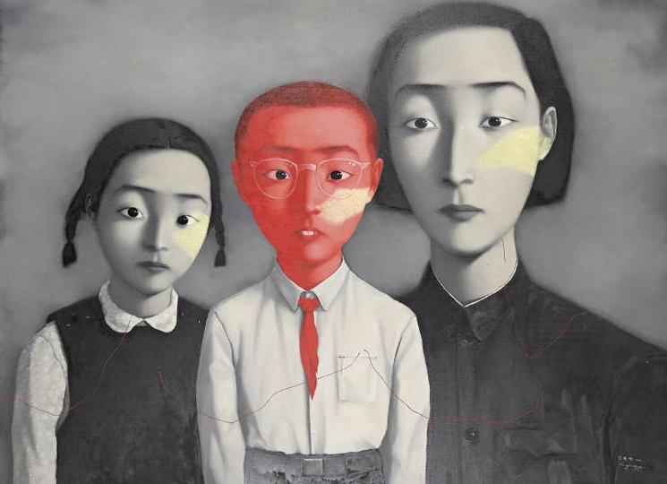 Zhang Xiaogang  A Big Family , 1995, Oil on canvas, 1.79x2.29m courtesy Saatchi Gallery, London,  ©  Zhang Xiaogang