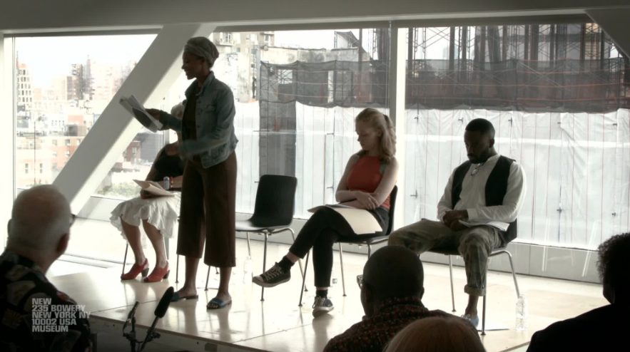 "Yvonna Pearson, Carol Carter, Olivia Rose Barresi, and Maurice McPherson at the New Museum's Sky Room, as a part of the public program  ""Under-Song For A Cipher,""  commemorating the exhibition of work by Lynette Yiadom-Boakye. August 2017."