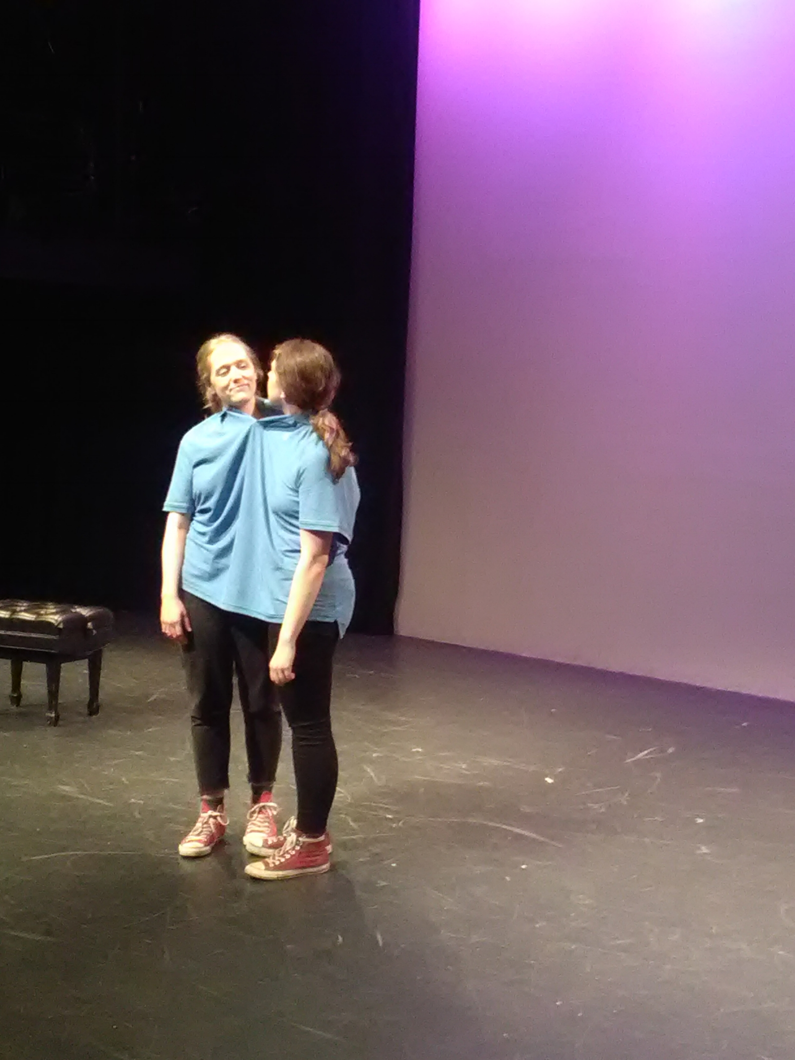 As Happy, with Julia Larsen as Biff, in  The Same Shirt Show.  Performed at Dixon Place in February 2018.