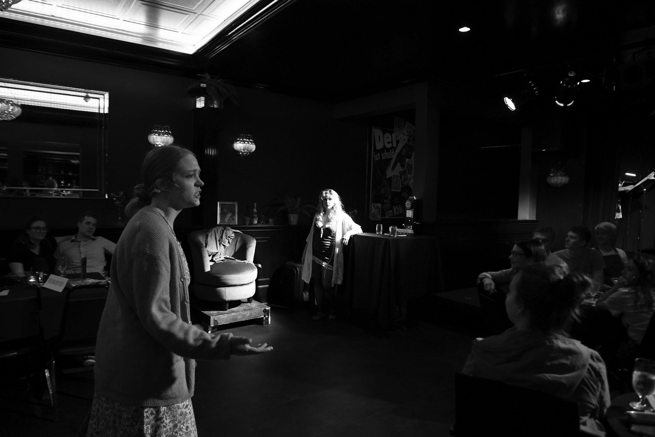 Fraulein Schneider fights with Fraulein Kost (Bettina Schwabe).  Cabaret  at Madame Jenny's, July 2019 (photo by Liza Gillette).