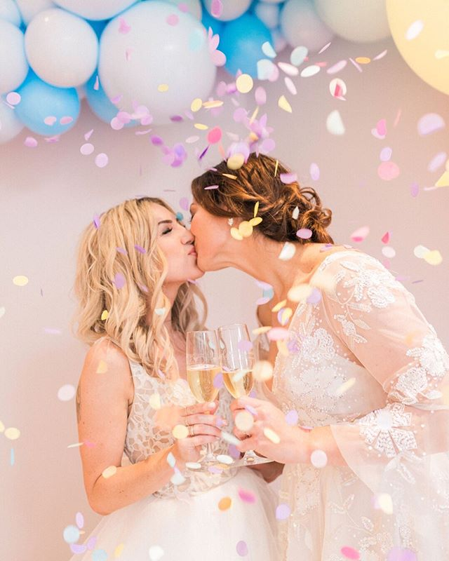 Love is love 💕 Last night's shoot was an absolute dream! - photography: @meganleephotographypa  gowns: @luxereduxbridal @misshayleypaige couple: @thebombshellsuite @wojo23r hair: @miranda.leigh.stull @mirandaleigh_hair makeup: @mariemiclotmakeup balloons: @von_walter_and_funk