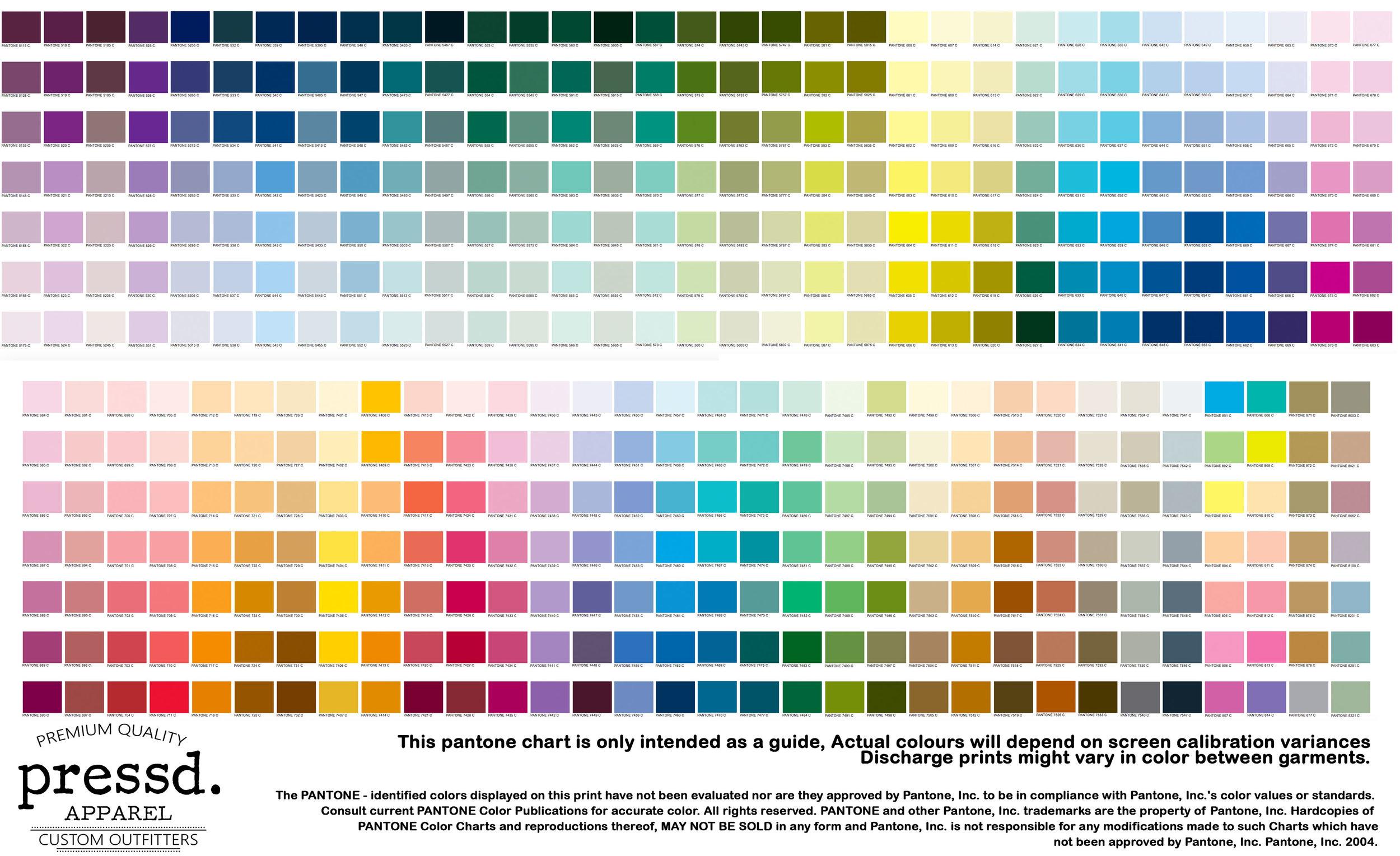 Pressd Ink Color Guide