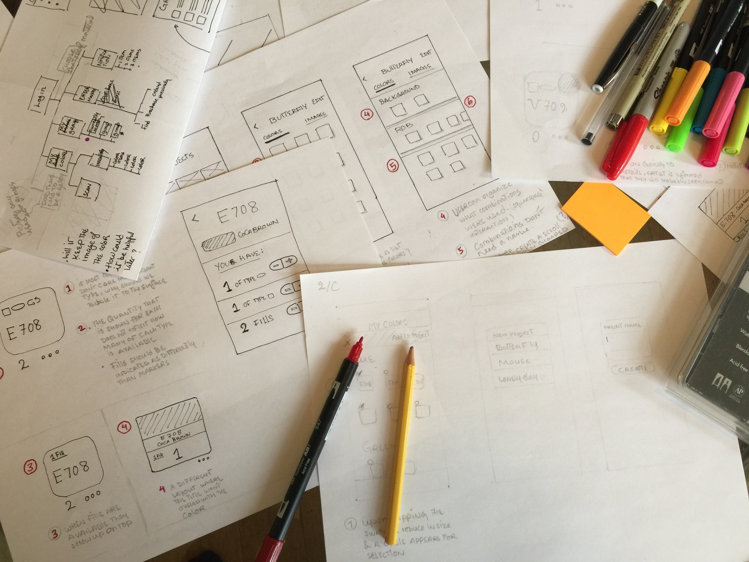Low-fi sketches of the major user stories.