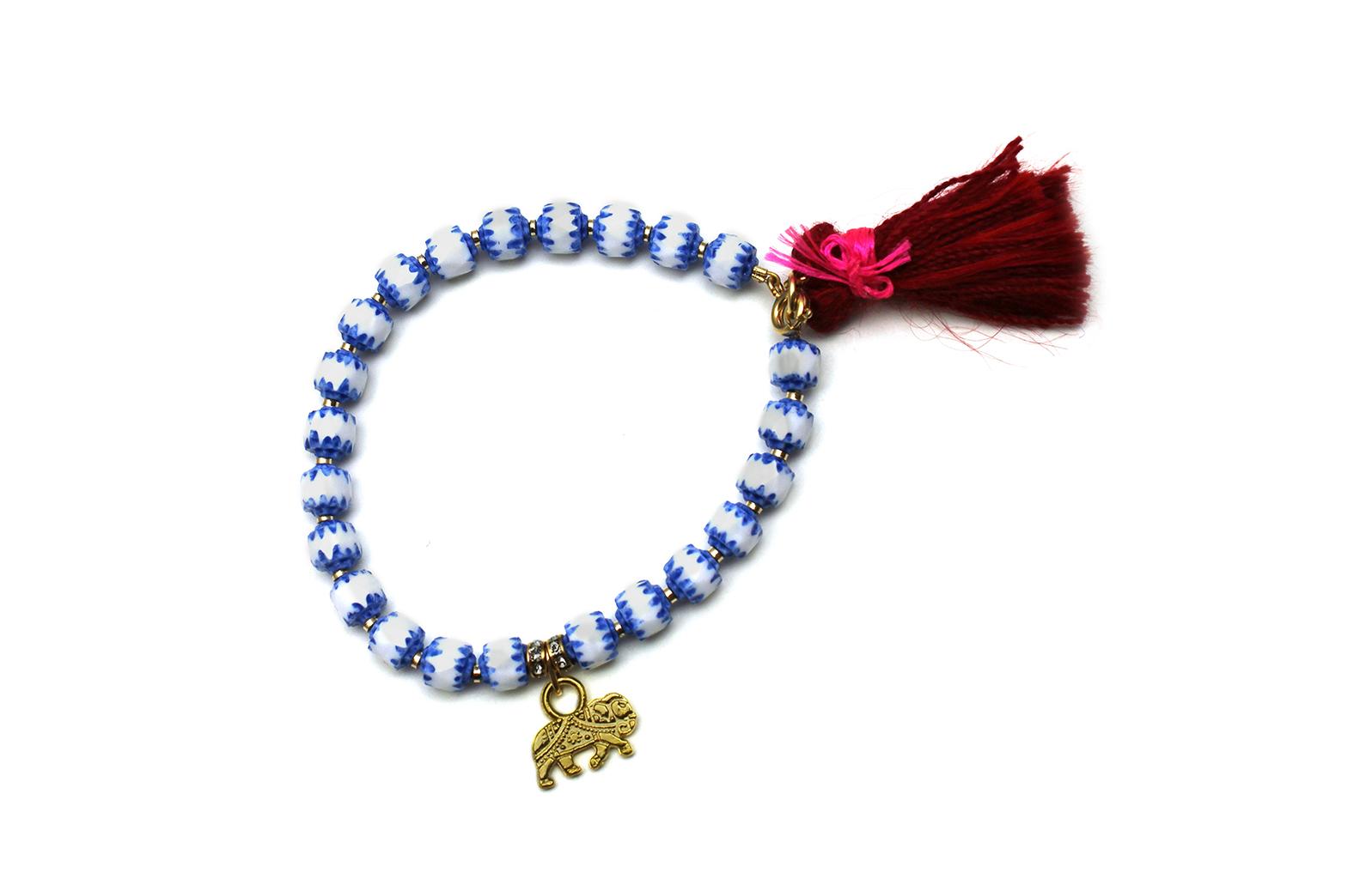 095B Red Tassel Charm Bracelet - BlueWhite.jpg