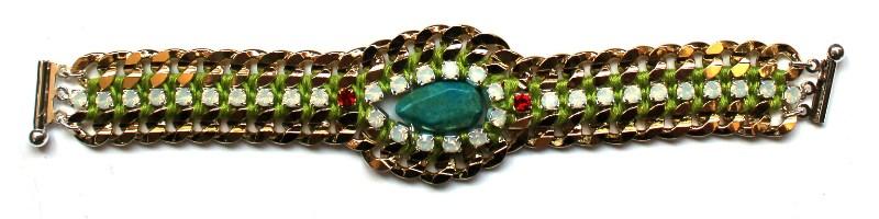 091 Turquoise & White Opal Lime Bracelet.jpg