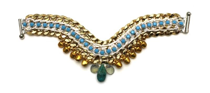 092TW Turquoise & White Bell Bracelet.jpg