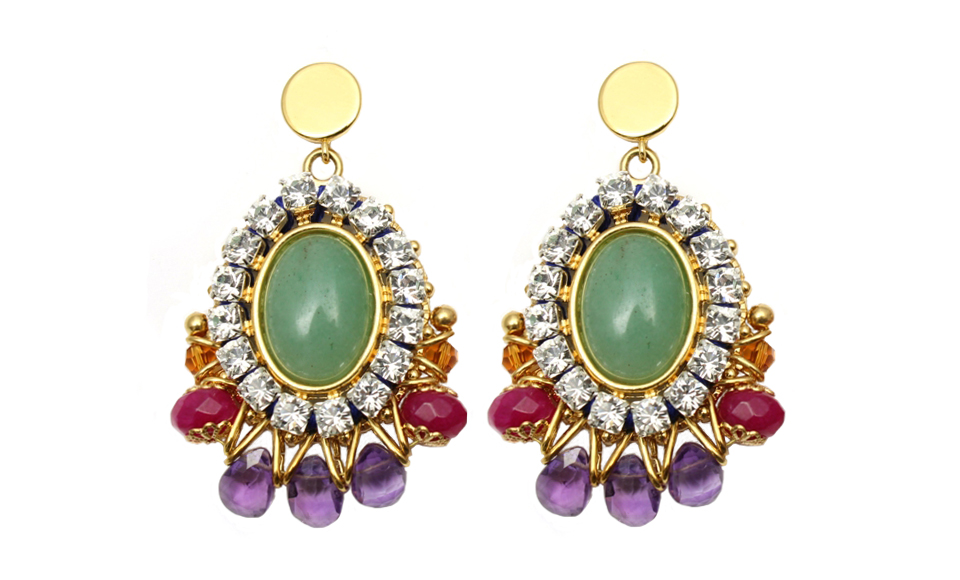 099G Gemstone & Crystal Stitched Earrings - Green.jpg