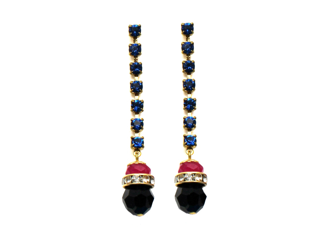 100PB Gemstone & Crystal Drop Earrings - PinkBlack.jpg
