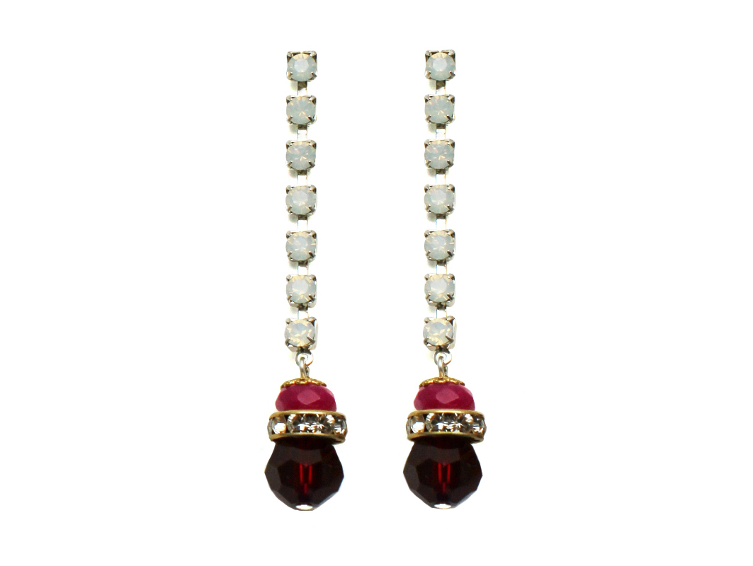 100PR Gemstone & Crystal Drop Earrings - PinkRed.jpg