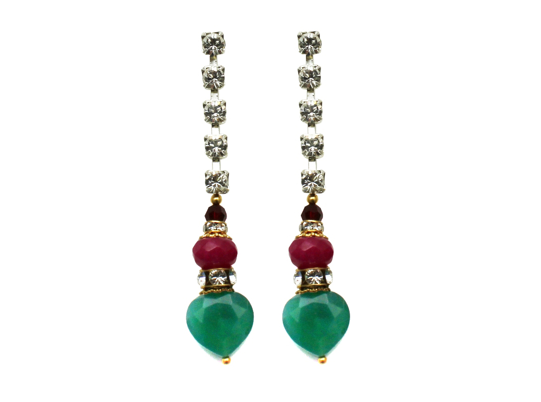 100PG Gemstone & Crystal Drop Earrings - PinkGreen.jpg