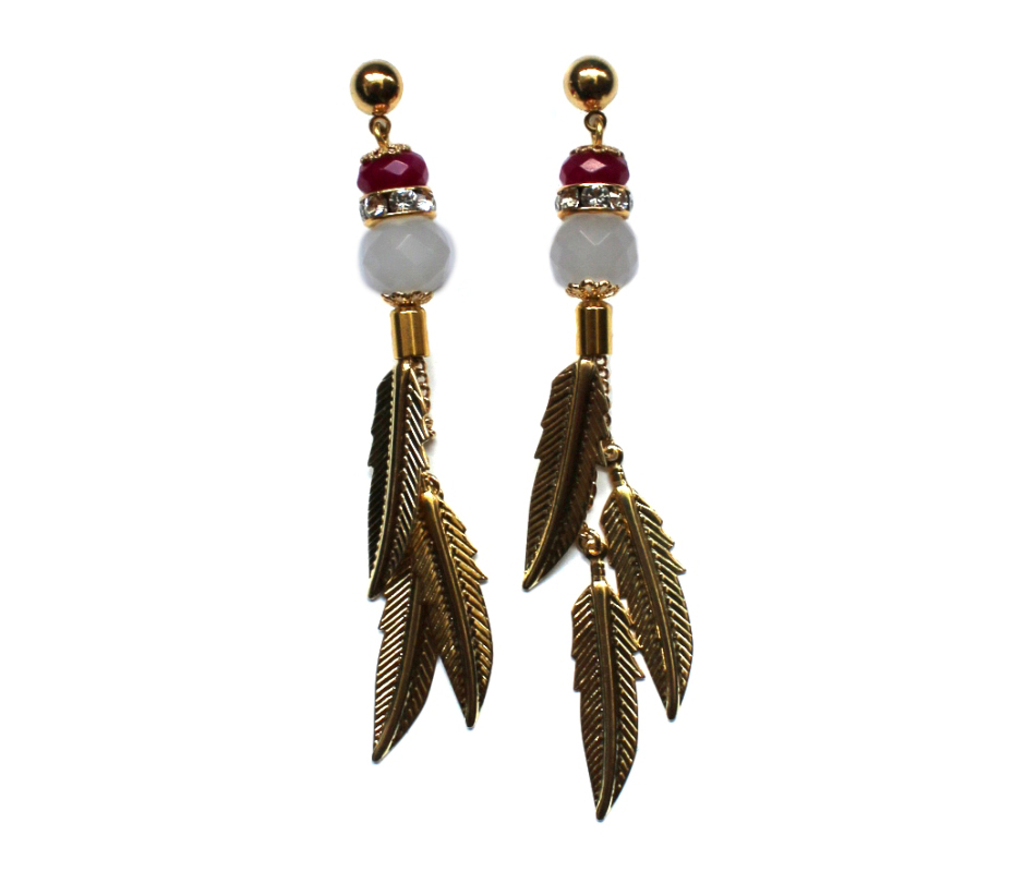 104 Pink Jade & Quartz Feather Dangle Earrings.jpg