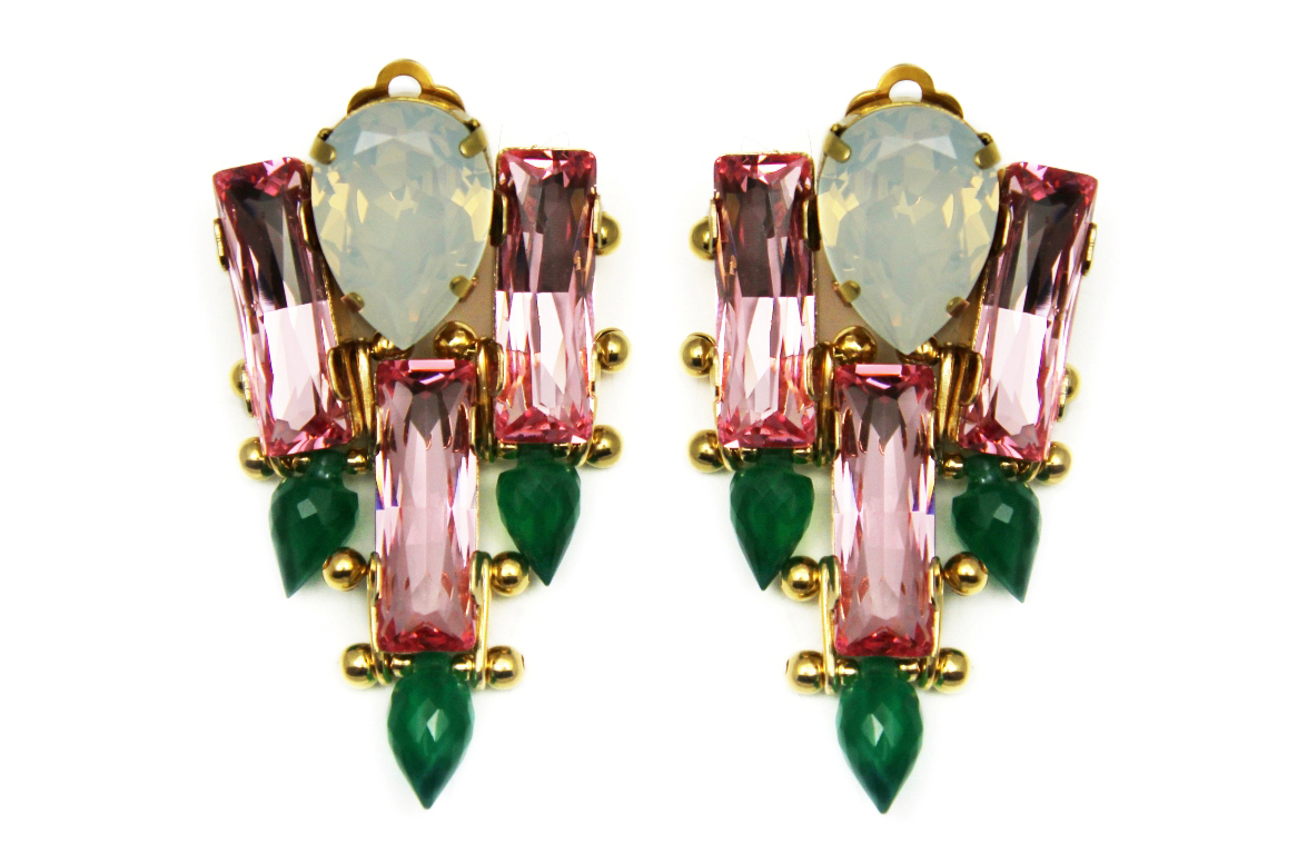 131PG - Triple Spike Earrings (PinkGreen).jpg