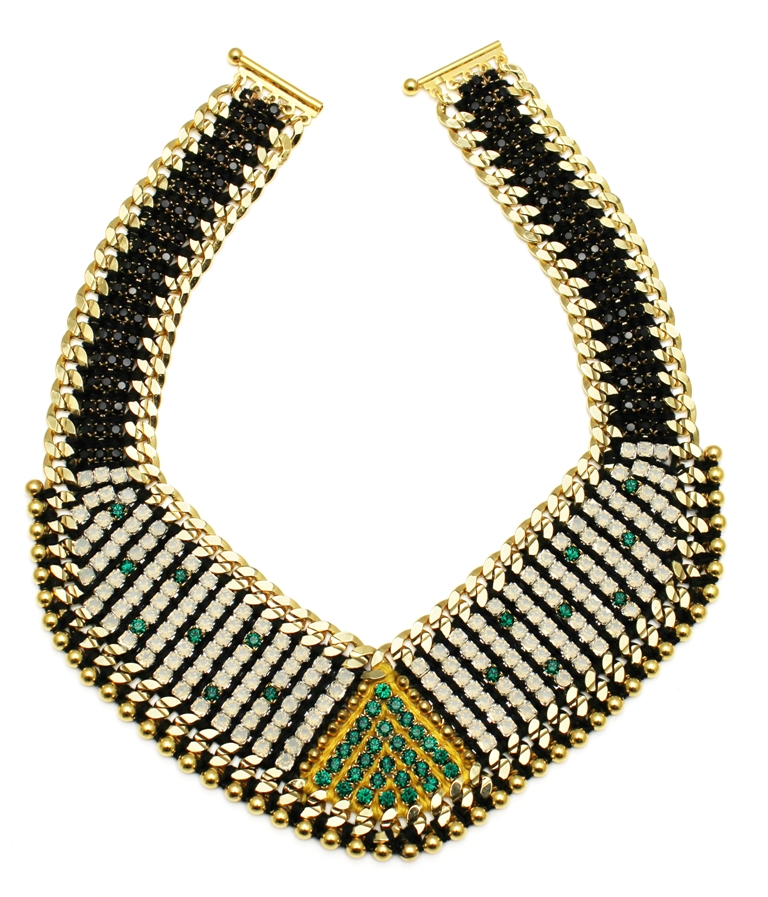 108G - White Opal Deco Spiked Bib Necklace - Green.jpg