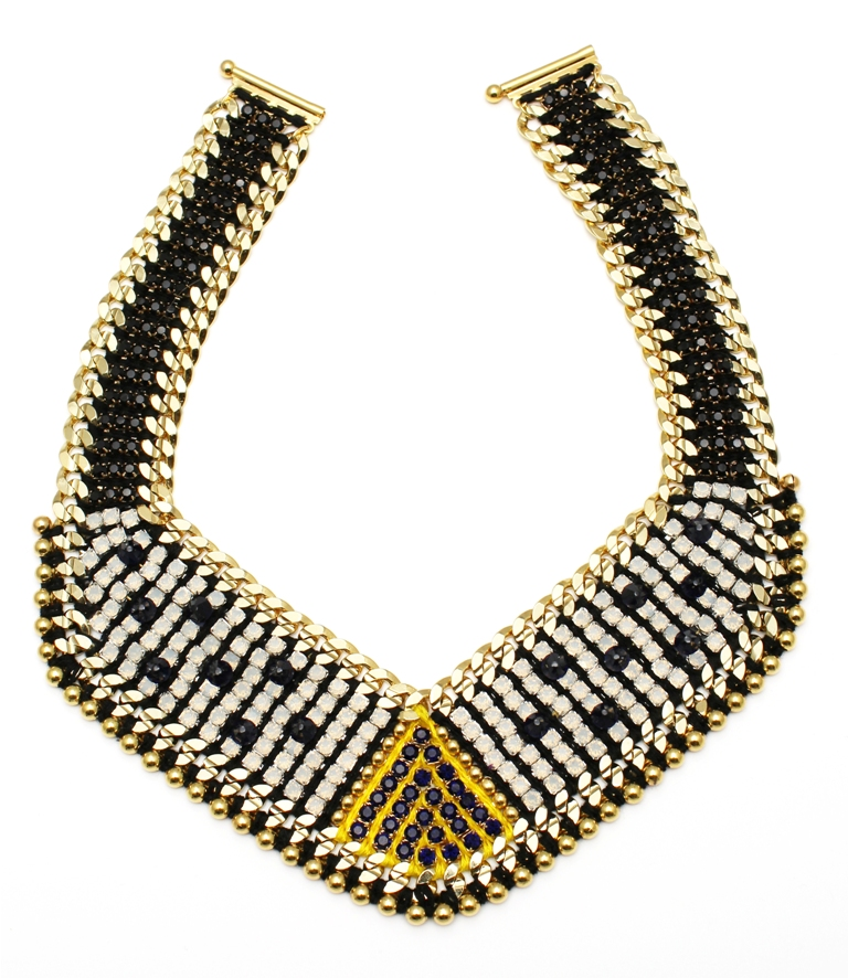 108N - White Opal Deco Spiked Bib Necklace - Navy.jpg