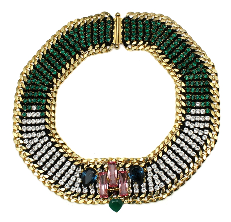 110G - Graphic Deco Embellished Necklace (Green).jpg