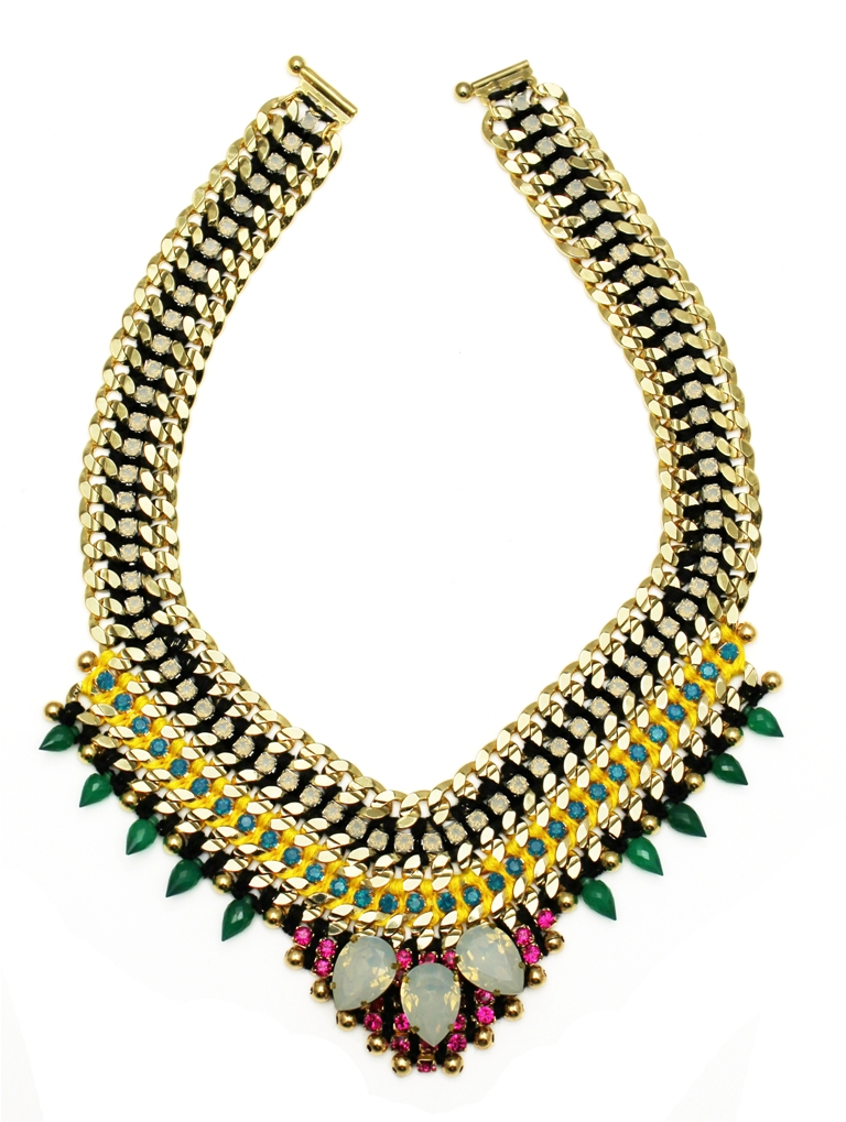 114 - Midnight Tropic Embellished Spiked V Necklace.jpg