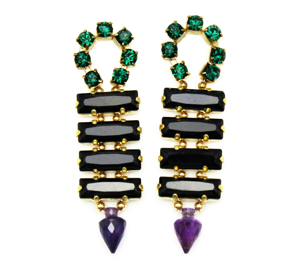 128B - Long Spiked Earrings (BlackPurple).jpg