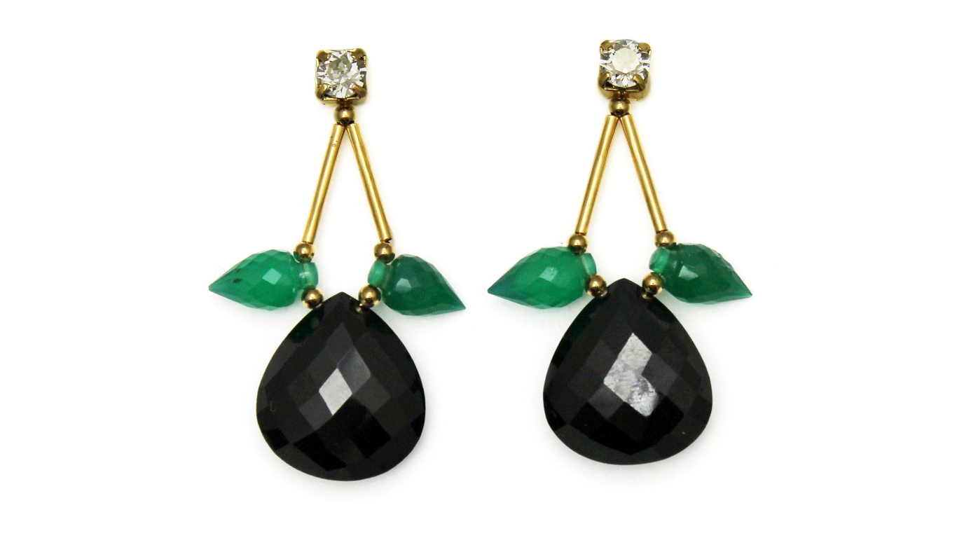 129B - Spiked Teardrop Earrings (BlackGreen).jpg